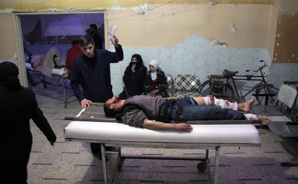 Un área de urgencias en la ciudad rebelde de Douma, en la región cercada de Gouta, cerca de Damasco, el domingo