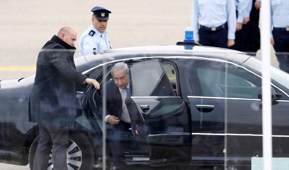 El primer ministro israelí, Benjamín Netanyahu, a su llegada ayer a un acto oficial.