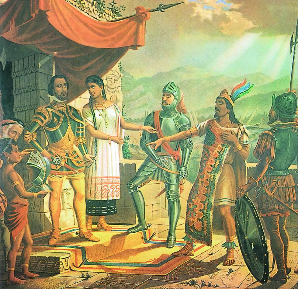 Cortes, a la izquierda y Moctezuma.