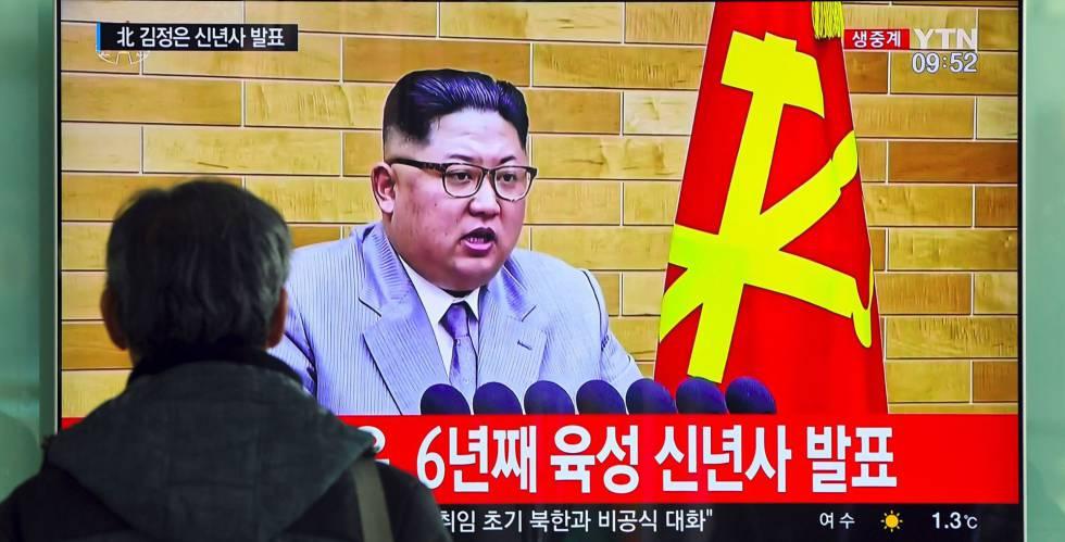 El discurso de Año Nuevo de Kim Jong-un, en una cadena de televisión surcoreana.