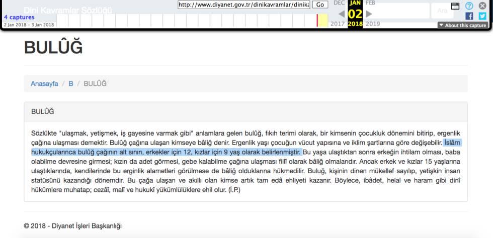Captura de pantalla de una copia caché de la polémica entrada del Diccionario de Conceptos Religiosos de la Diyanet de Turquía en el que afirma que la pubertad comienza a los 12 años en los chicos y a los 9 en las chicas (subrayado) y que a partir de esa edad pueden contraer matrimonio y la mujer quedar embarazada.
