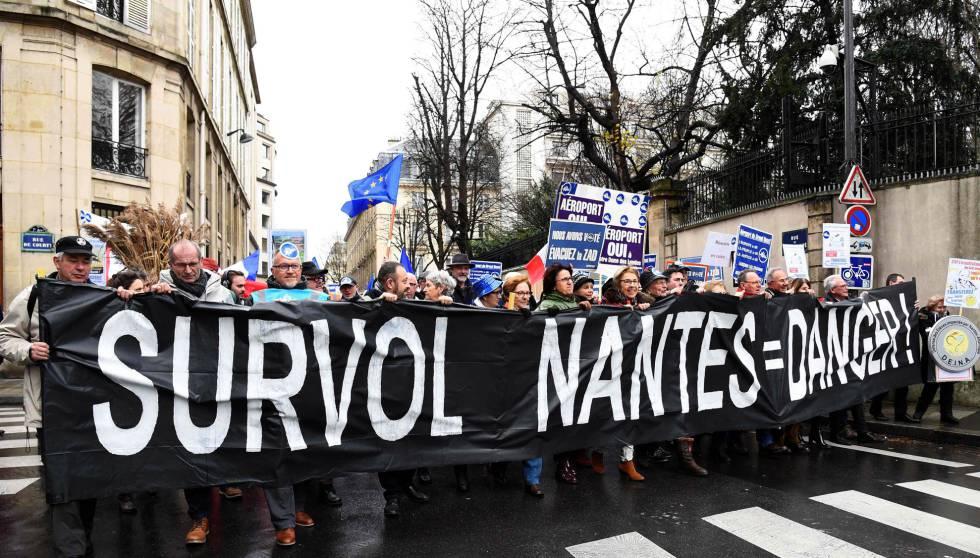 Manifestantes en apoyo del aeropuerto de Notre-Dame-des-Landes en diciembre de 2017.