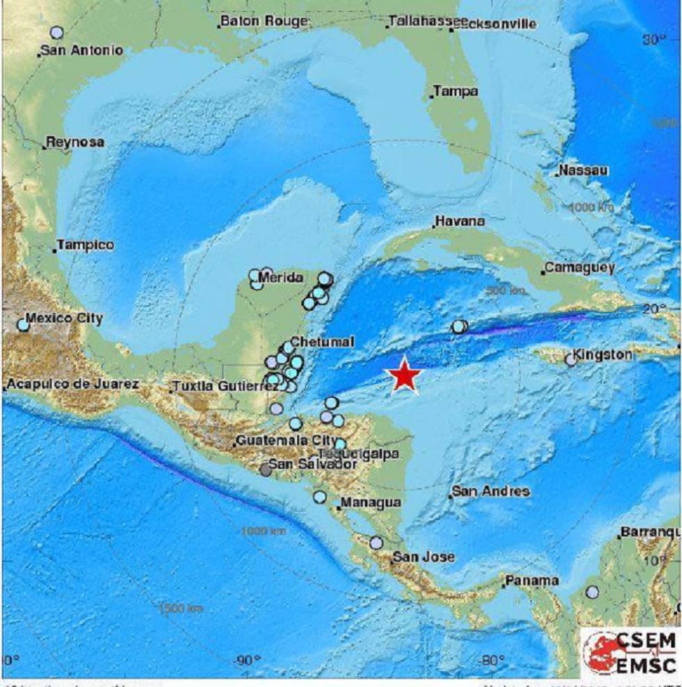 Mapa de la ubicación del epicentro del sismo  EMSC.