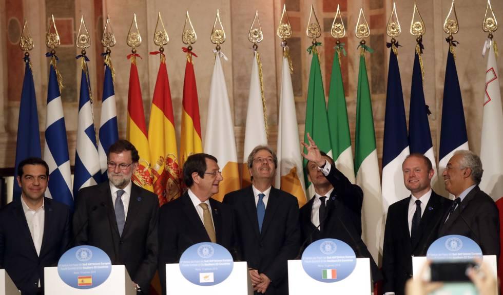 Los líderes de los países del Sur de Europa en Roma este miércoles.