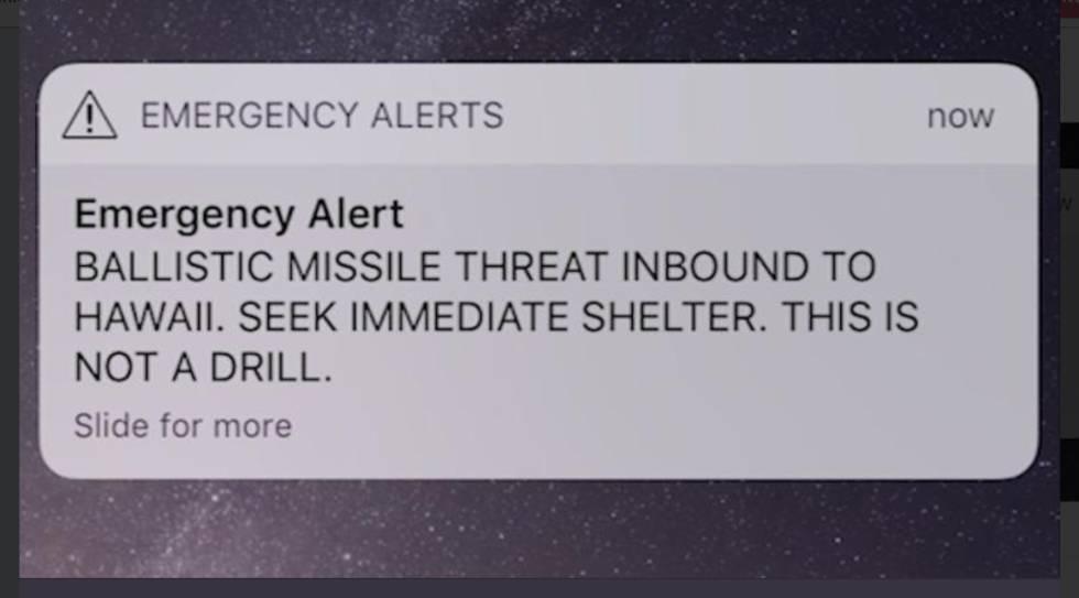 Captura de la alerta oficial que ha desatado el pánico en Hawái.
