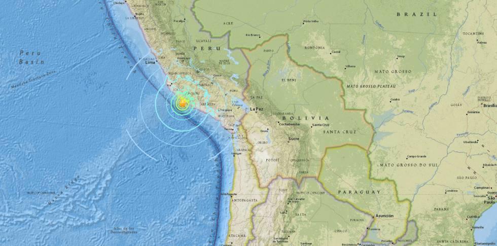 Localização do terremoto sentido no Peru nesta madrugada, segundo o Instituto de Estudos Geológicos dos Estados Unidos.