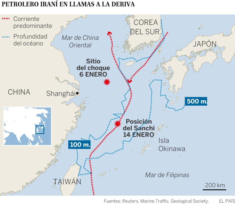 China trata de evitar una catástrofe medioambiental tras el hundimiento del petrolero iraní