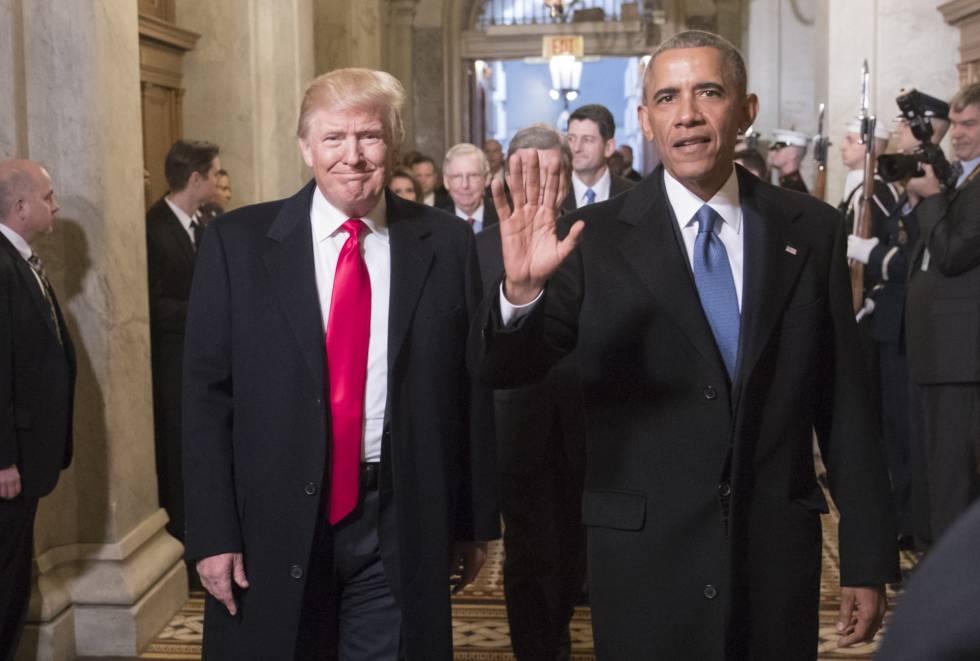 Obama y Trump en Washington el día de la inauguración presidencial del segundo el 20 de enero de 2017.