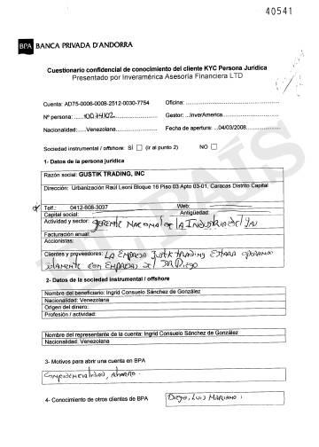 Cuestionario confidencial que rellenó la supervisora de PDVSA Ingrid Sánchez González al abrir su cuenta en la Banca Privada d'Andorra (BPA) el 4 de marzo de 2008.