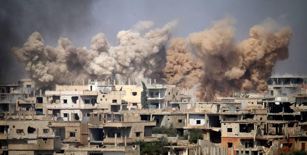 Zona rebelde en Daraa, al sur de Siria, tras un bombardeo en junio de 2017.