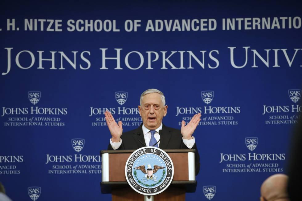 Mattis durante la presentación de la estrategia, este viernes en una universidad de Washington