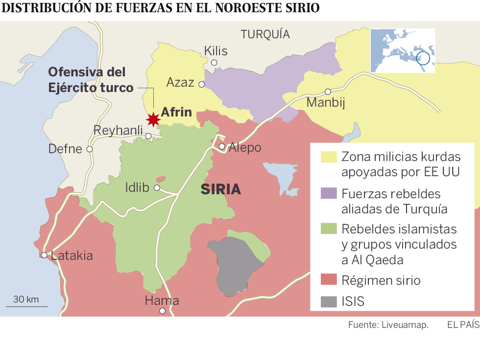 Turquía inicia una ofensiva militar contra un cantón kurdo en Siria