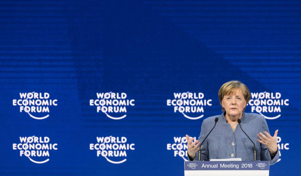 La canciller alemana, Angela Merkel, en el Foro de Davos este miércoles.
