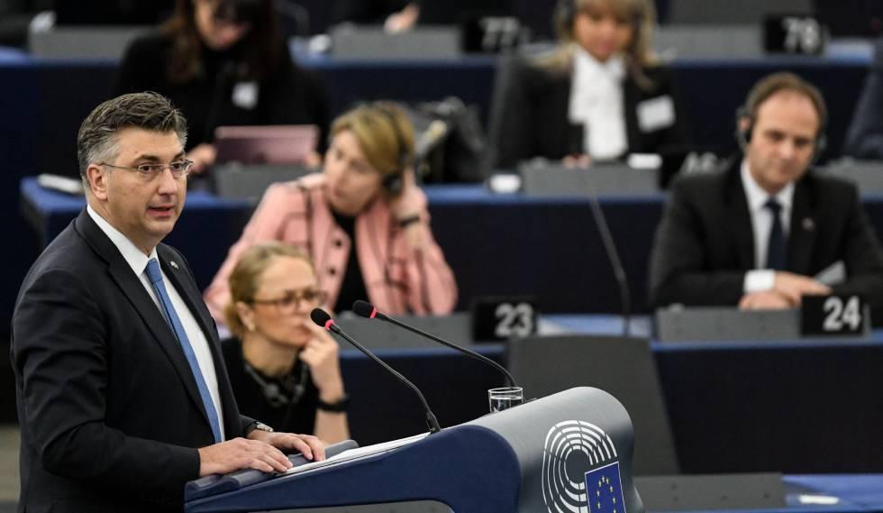 El primer ministro croata, Andrej Plenkovic, durante una sesión del Parlamento Europeo en Estrasburgo este martes.