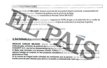 Documentos confidenciales de la Banca Privada d'Andorra (BPA) que vinculan al exsubsecretario de Empleo de Buenos Aires Nicolás Carlos Milazzo con una empresa que figura como titular de una cuenta en este banco.