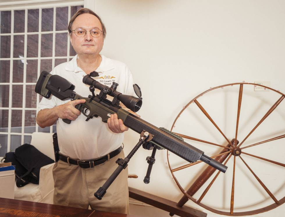 At home in Washington D.C., George L. Lyon, firearm instructor and gun rights lawyer who fought and won the right to carry a weapon outside the home.