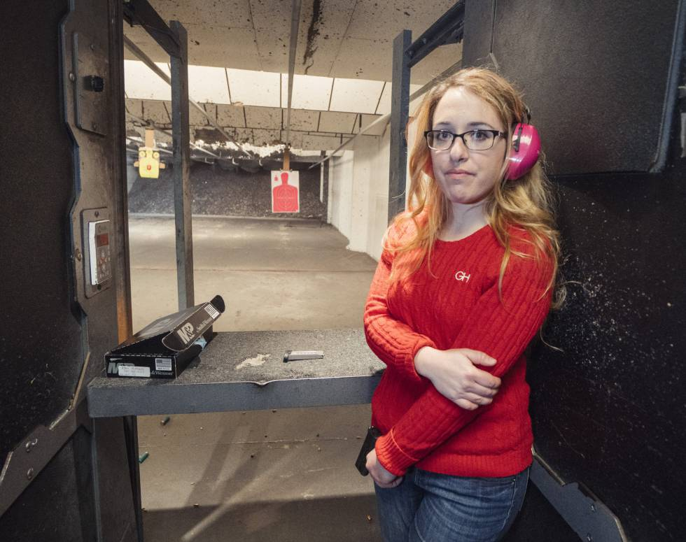 Gabriella Hoffman, 26, at the shooting range in Virginia.