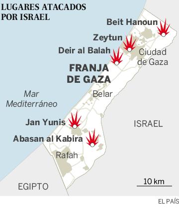 Lugares atacados por Israel en la Franja de Gaza