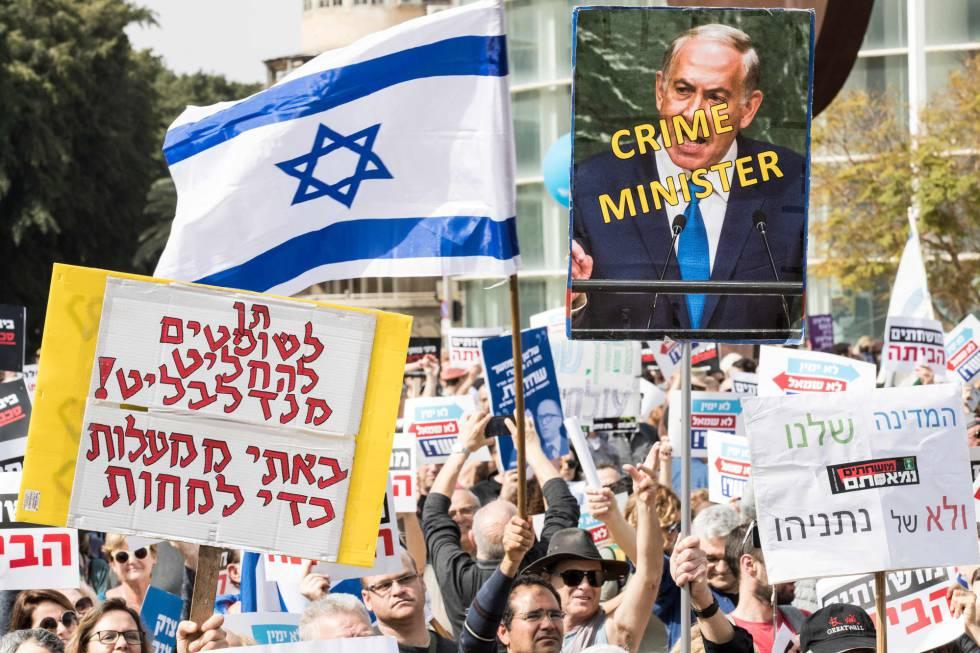 Manifestación contra la corrupción en Israel, el viernes en Tel Aviv.