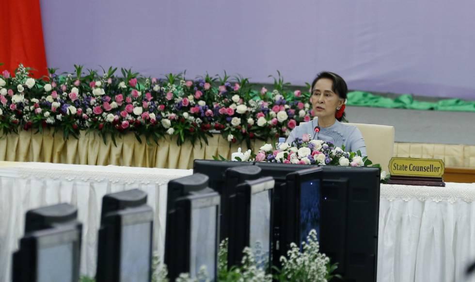 La consejera de Estado de Myanmar, Aung San Suu Kyi, el 26 de febrero de 2018.