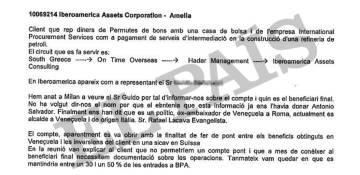 Acta interna de la Banca Privada d'Andorra (BPA), fechada el 29 de mayo de 2009, que menciona la vinculación entre la firma Iberoamerica Assets Corporation y el gobernador de Carabobo, Rafael Lacava.