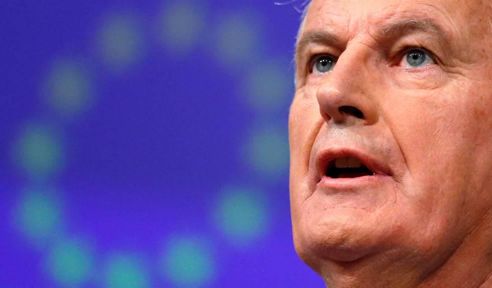 El negociador de la UE para el Brexit, Michel Barnier, en una rueda de prensa este miércoles en Bruselas. rn