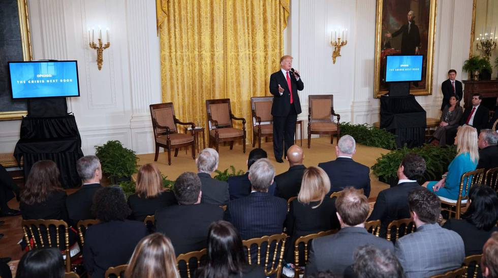 El presidente Trump en un evento sobre los opiáceos en la casa Blanca