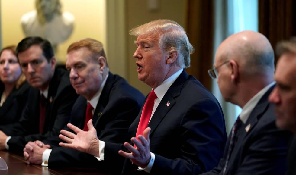 Trump, el pasado jueves en la Casa Blanca cuando anunció los nuevos aranceles.
