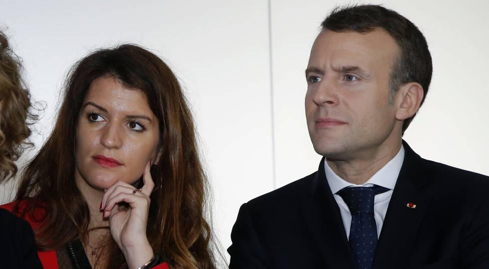 La secretaria de Estado francesa para la igualdad entre hombres y mujeres, Marlène Schiappa, con el presidente Emmanuel Macron