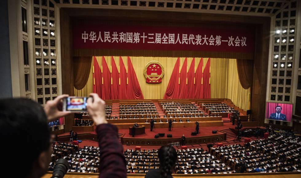 Sesión de la Asamblea Nacional Popular en Pekín este domingo.