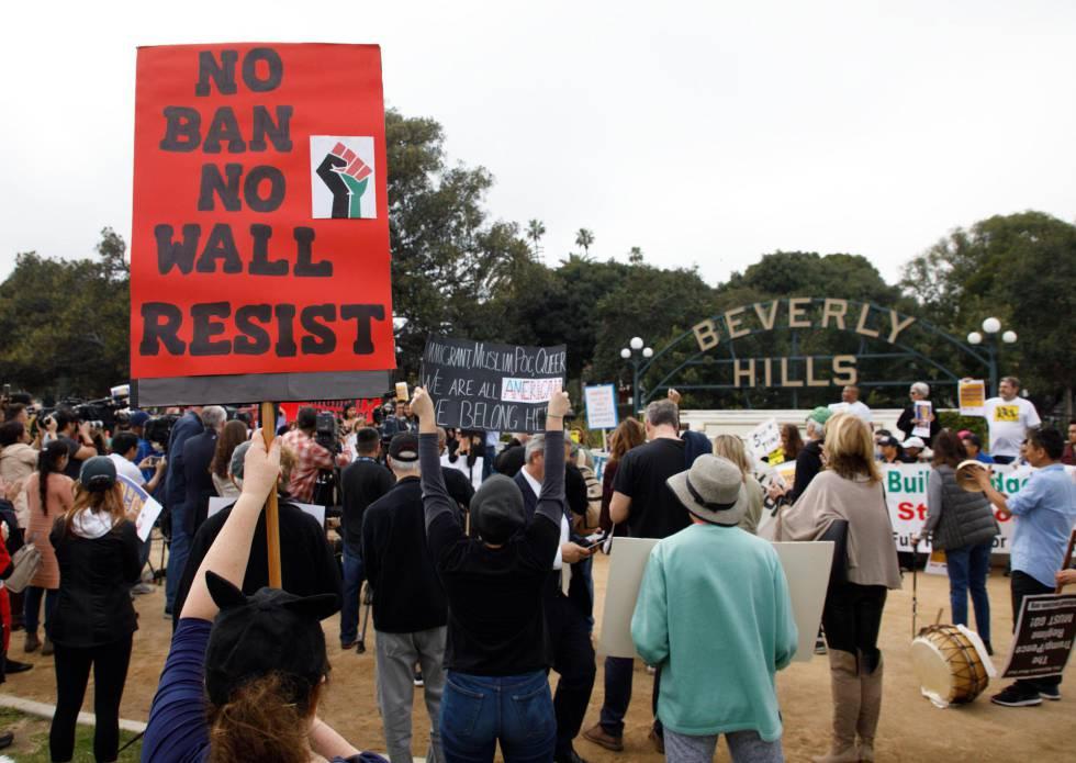 Manifestación contra Trump en Beverly Hills, el martes.
