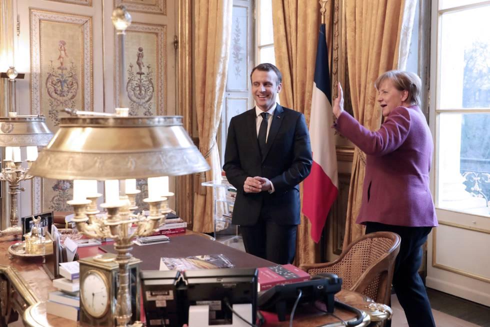 Macron y Merkel, este viernes en el palacio del Elíseo