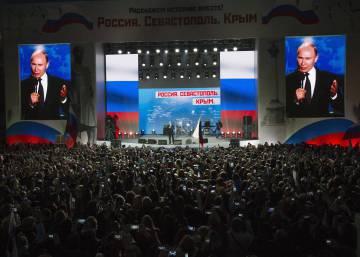 Putin apela al nacionalismo en un acto de campaña en la anexionada Crimea