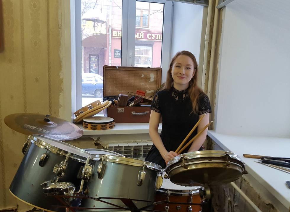 Ekaterina Vasilieva, de 22 años, en el Conservatorio de Música de Nizhni Novgorod, el jueves.