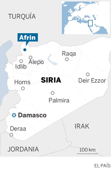 Mapa de localización de Afrin, al noroeste de Siria