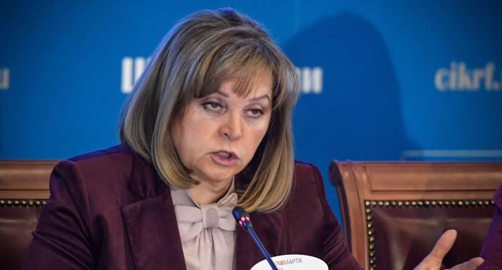 La jefa de la Comisión Electoral Central de Rusia, Ella Pamfílova, este lunes en Moscú.