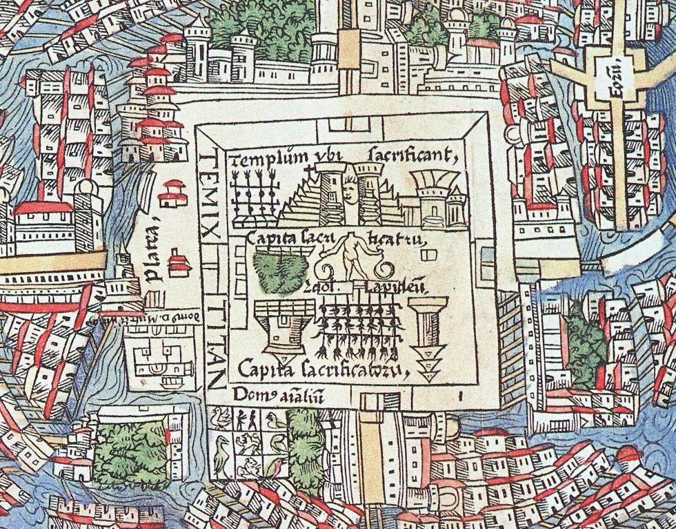 Mapa de Tenochtitlán de 1524. El vivario aparece en la parte inferior del plano.