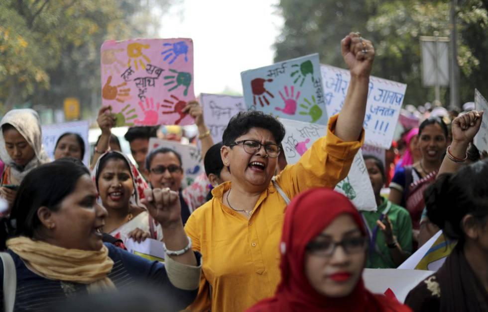 Mujeres hindúes se manifiestan en una protesta por el Día Internacional de la Mujer, el pasado 8 de marzo, en Nueva Delhi (India).