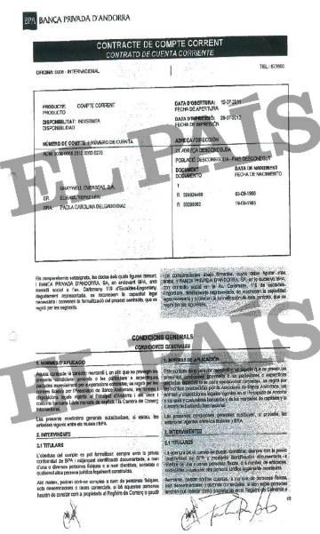 Contrato de apertura de cuenta en la Banca Privada d'Andorra (BPA) del vicepresidente de Bolipuertos, Elisaul Yépez.