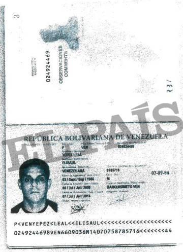 Pasaporte entregado por el vicepresidente de Bolipuertos, Elisaul Yépez, a la Banca Privada d'Andorra (BPA) para abrir su cuenta.