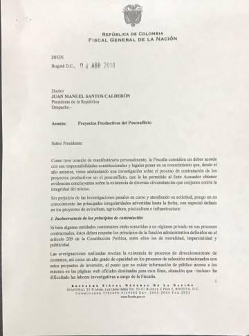 Carta del fiscal al presidente Santos.