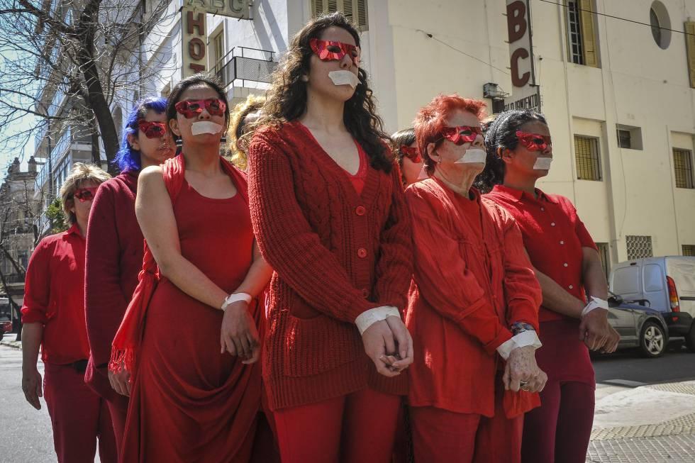 Protesta contra las redes de trata en Buenos Aires, en 2015.