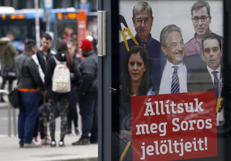 Cartel del partido del Gobierno hungaro que presenta un montaje de Soros con los candidatos de la oposición.