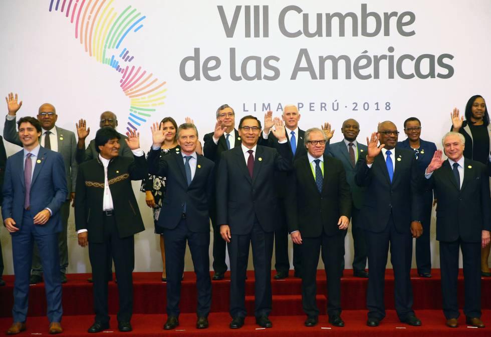 Jefes de estado y representantes que participan en la VIII Cumbre de las Américas