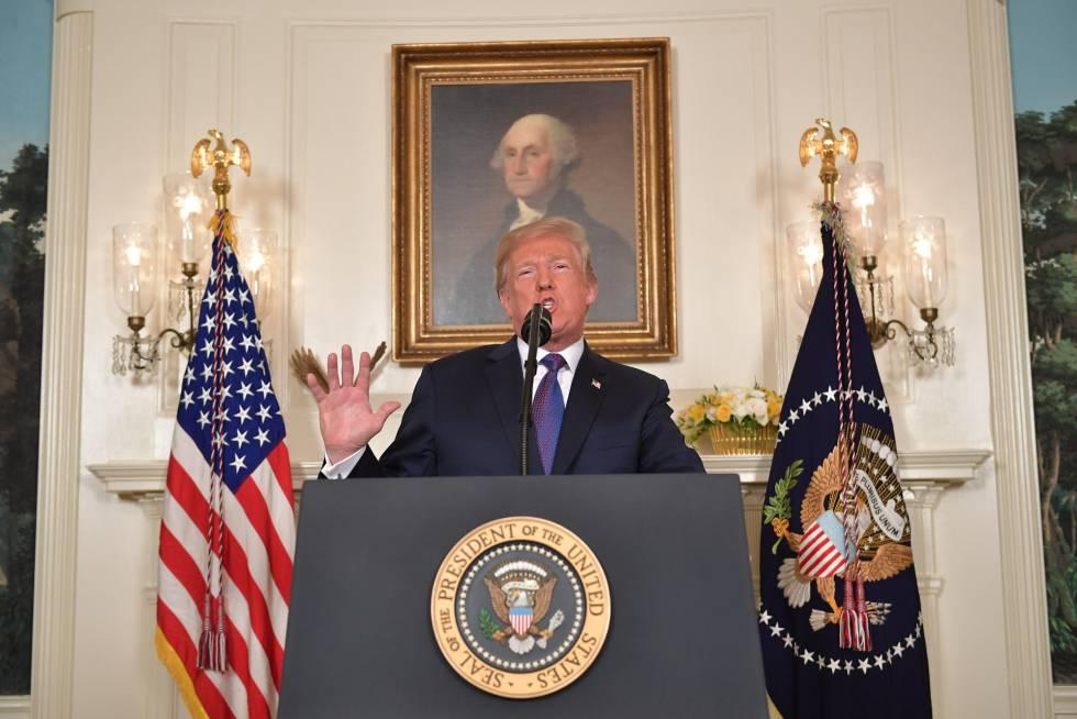 Trump durante la conferencia.