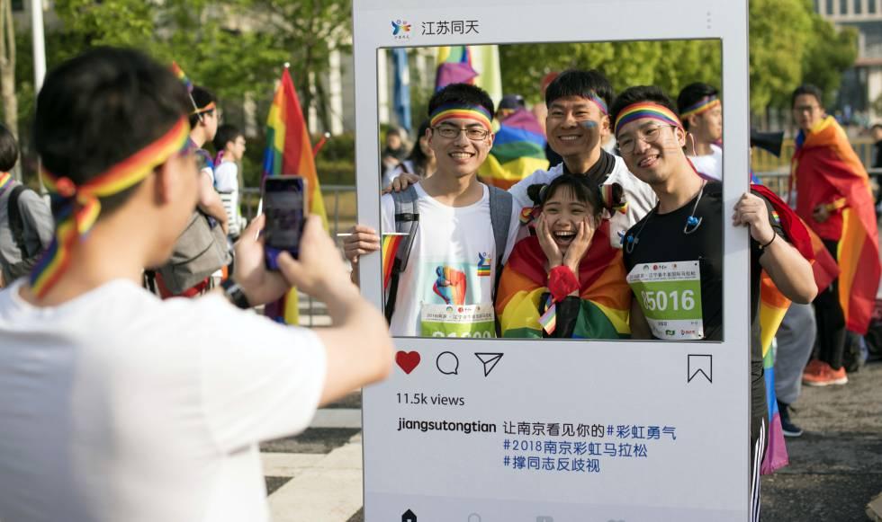 Manifestación a favor del colectivo LGTB en Nanjing, el domingo.