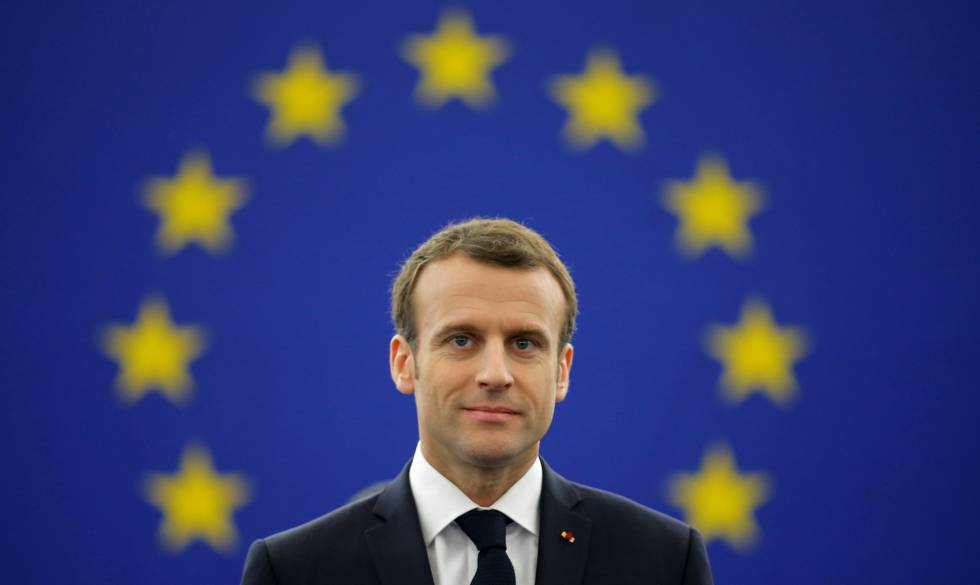 El presidente de Francia, Emmanuel Macron, en un debate en el Parlamento Europeo en Estrasburgo este martes.