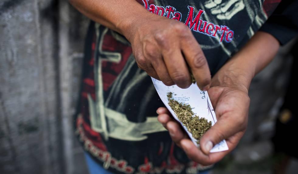 Un hombre limpia marihuana en Tepito.