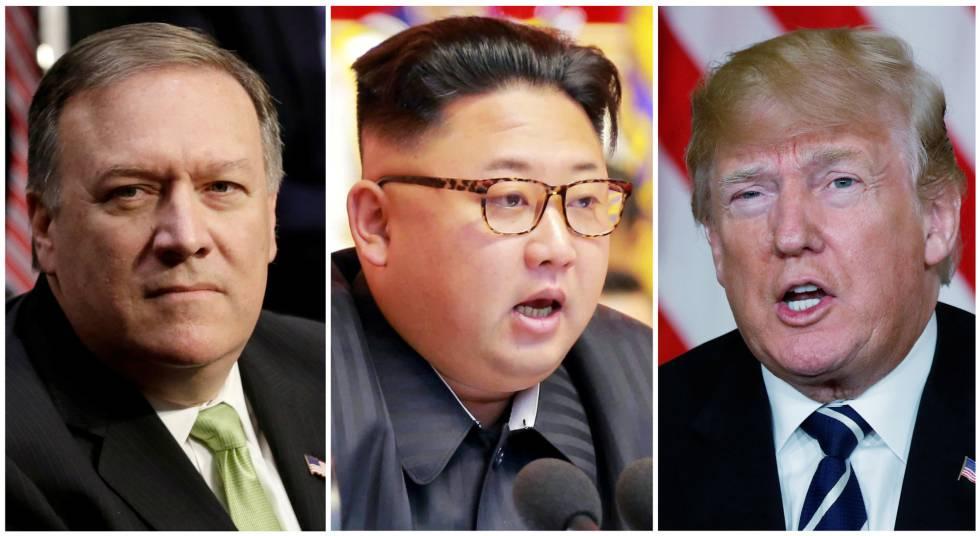 El director de la CIA, Mike Pompeo; el líder de Corea del Norte, Kim Jong-un, y el presidente de EEUU, Donald Trump.