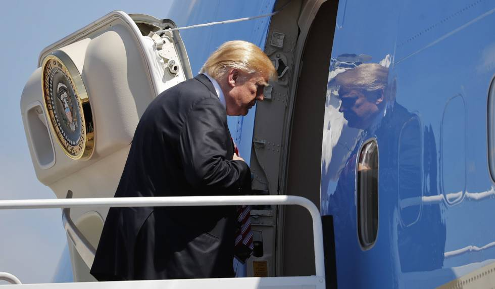 El presidente de EE UU, Donald Trump, este jueves en West Palm Beach (Florida).